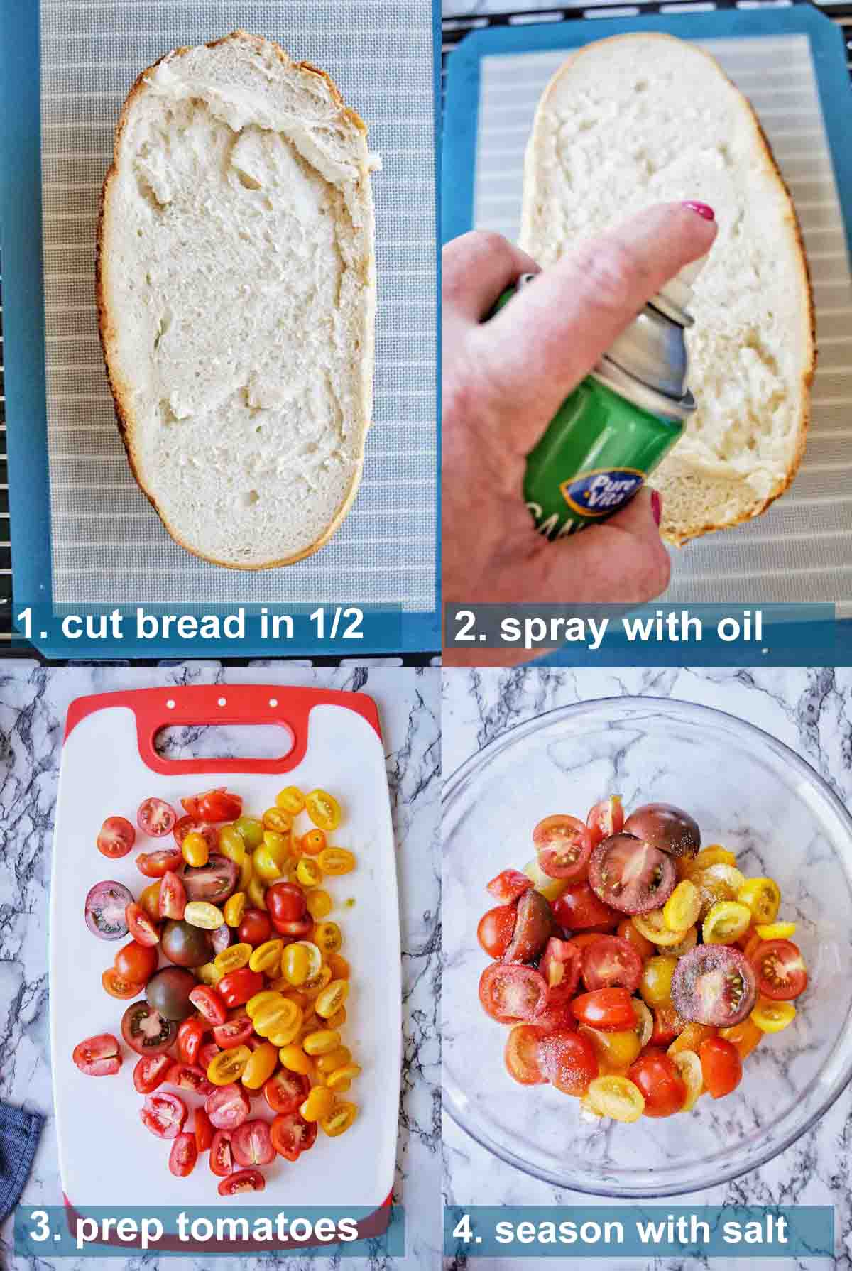 Panzanella Salad method 1 to 4 with text labels