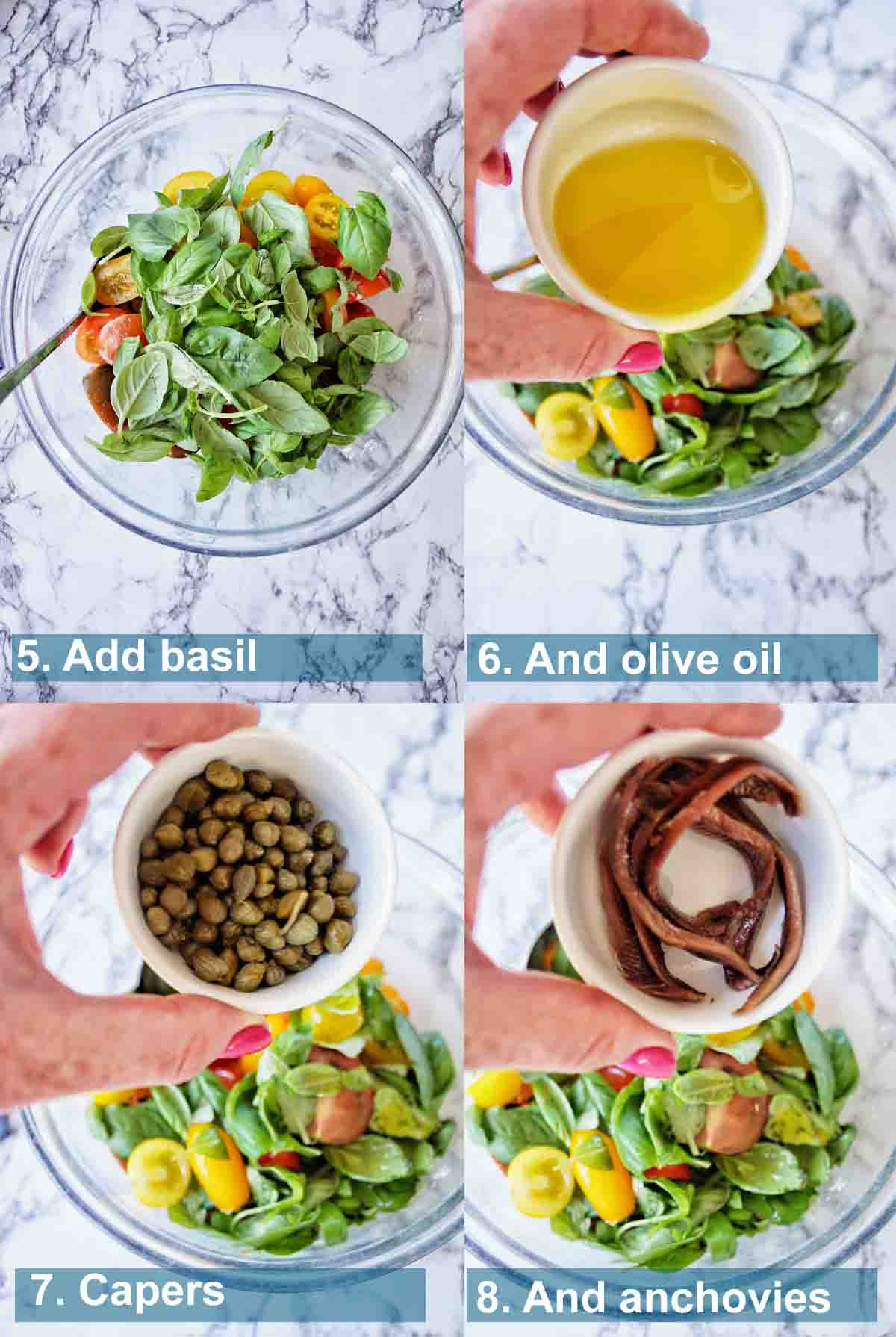 Method for Panzanella Salad 5 to 8 with text labels