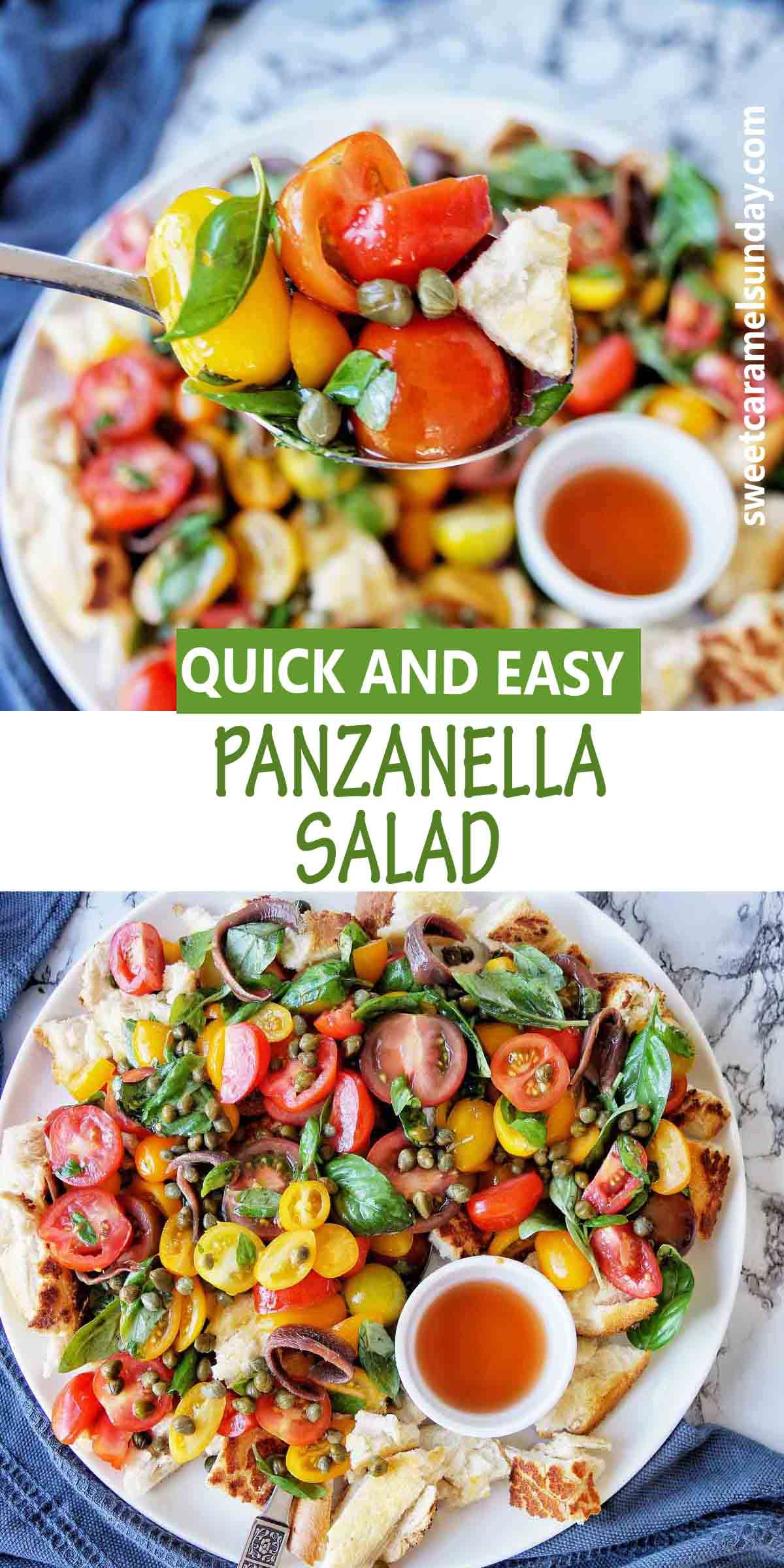 Panzanella Salad with text over lay