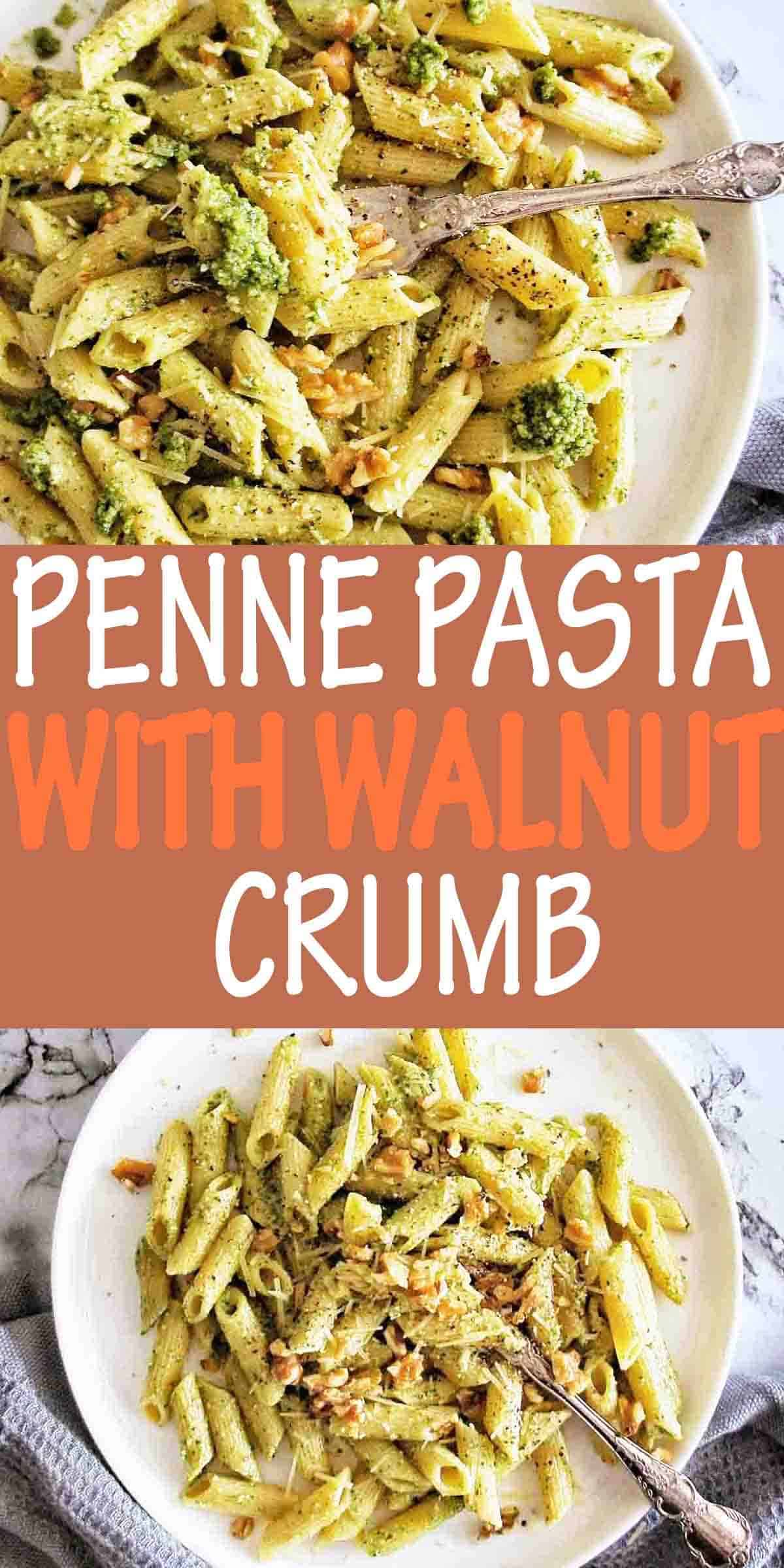 Penne Pasta with text over lay