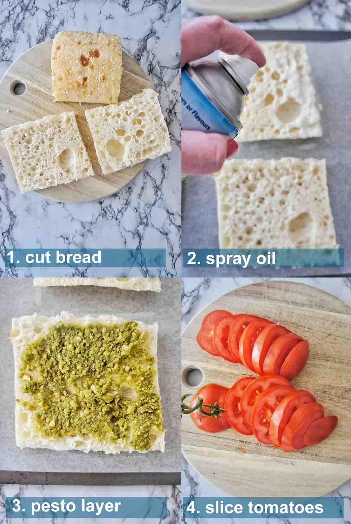 Pesto Grilled Cheese Method 1