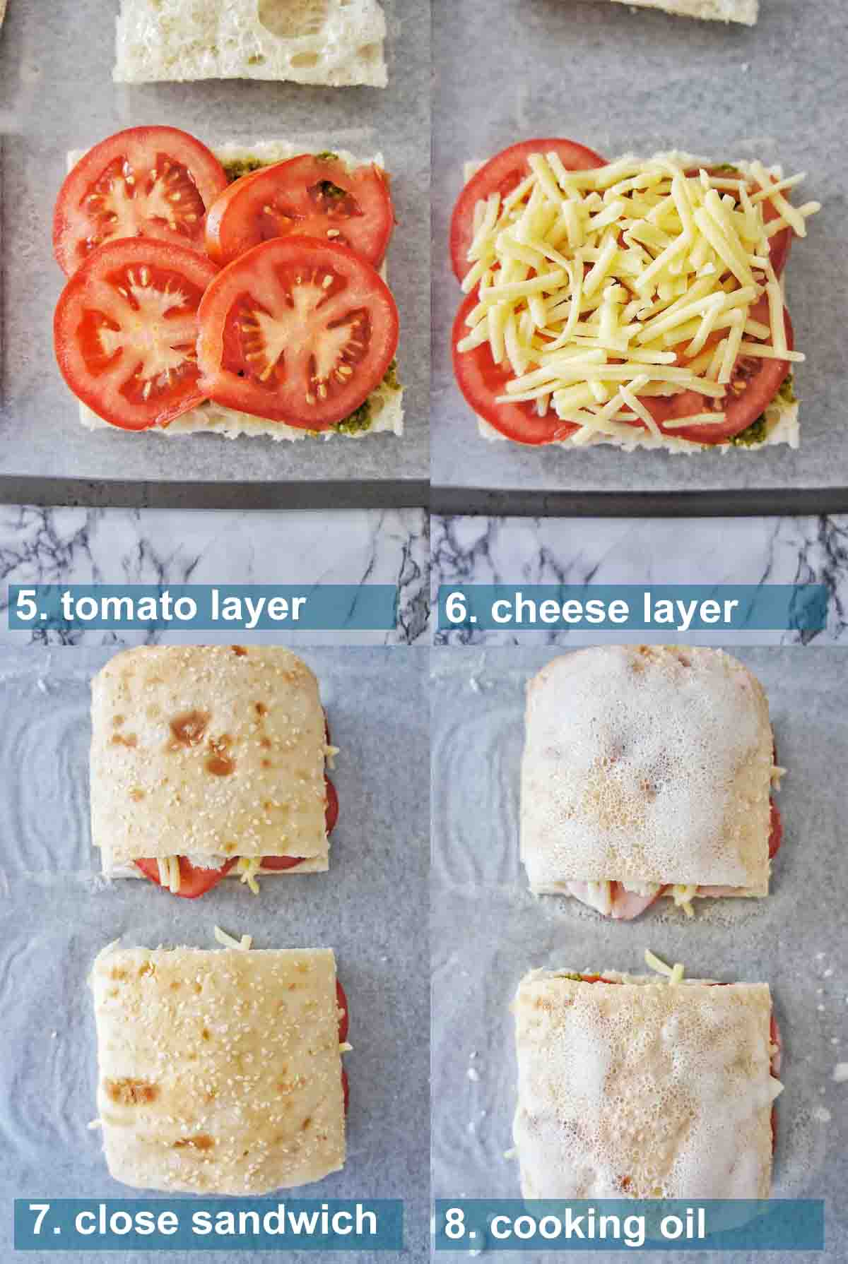 Step by step photos with text overlay for pesto grilled cheese