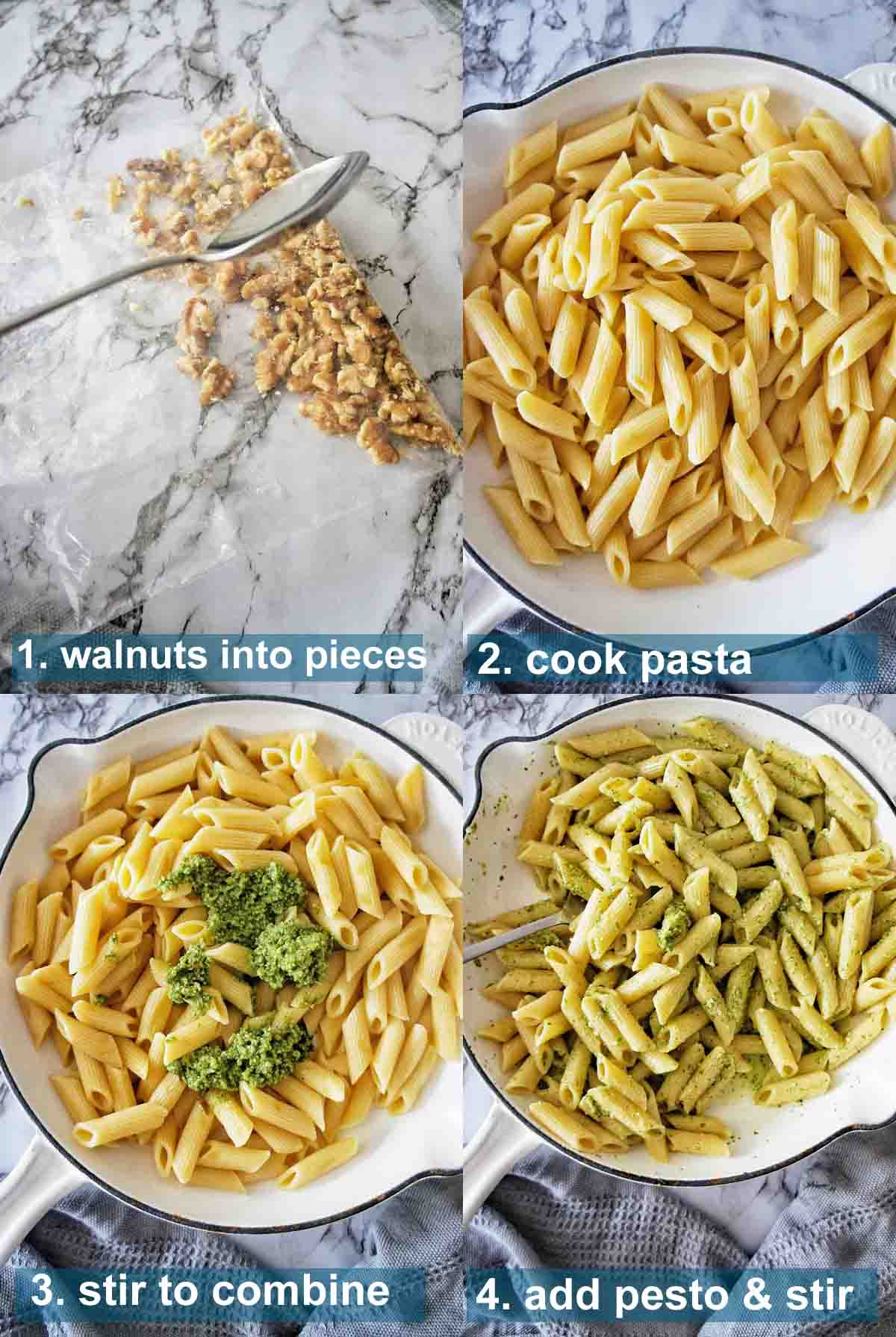 Pesto Penne method with text over lay