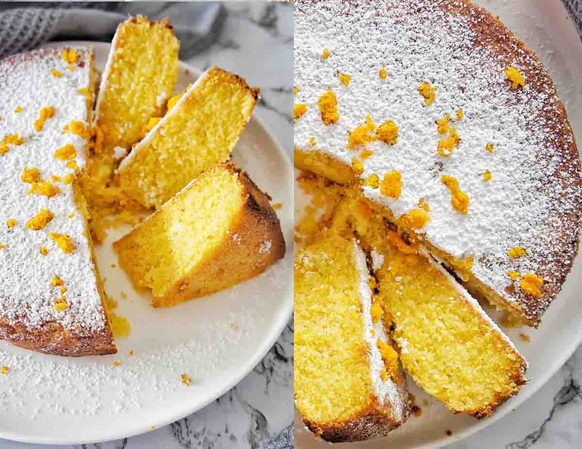 Orange Polenta Cake cut showing orange colored cake texture on a white plate
