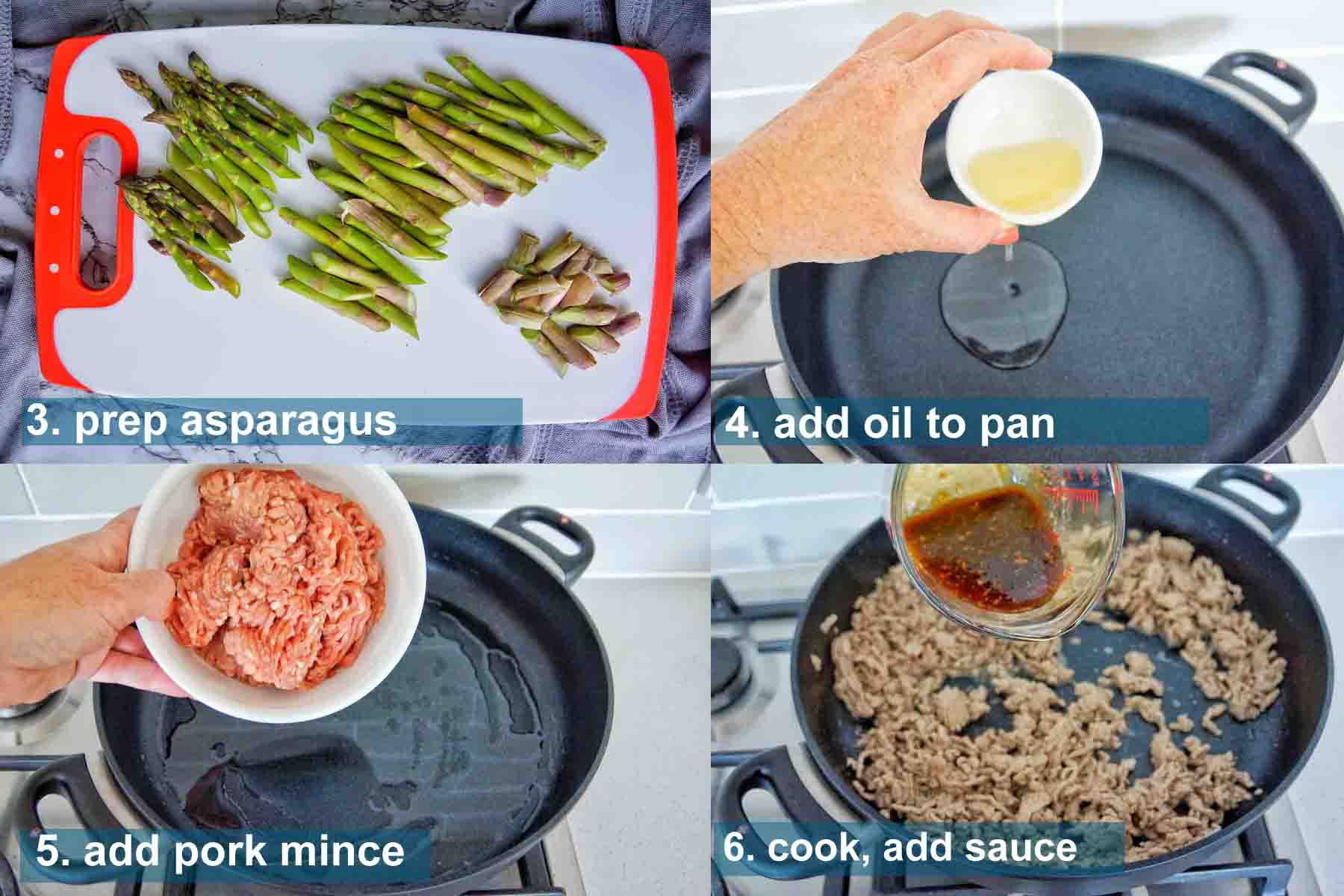 Pork and asparagus in oyster sauce method 3 to 6 with text over lay