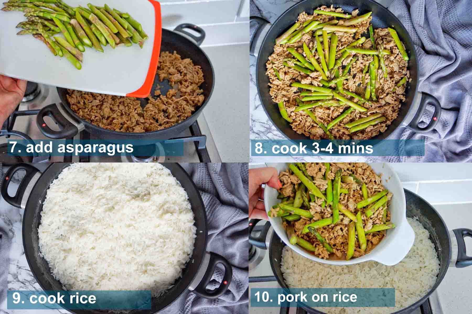 One pan pork asparagus method 7 to 10 with text labels