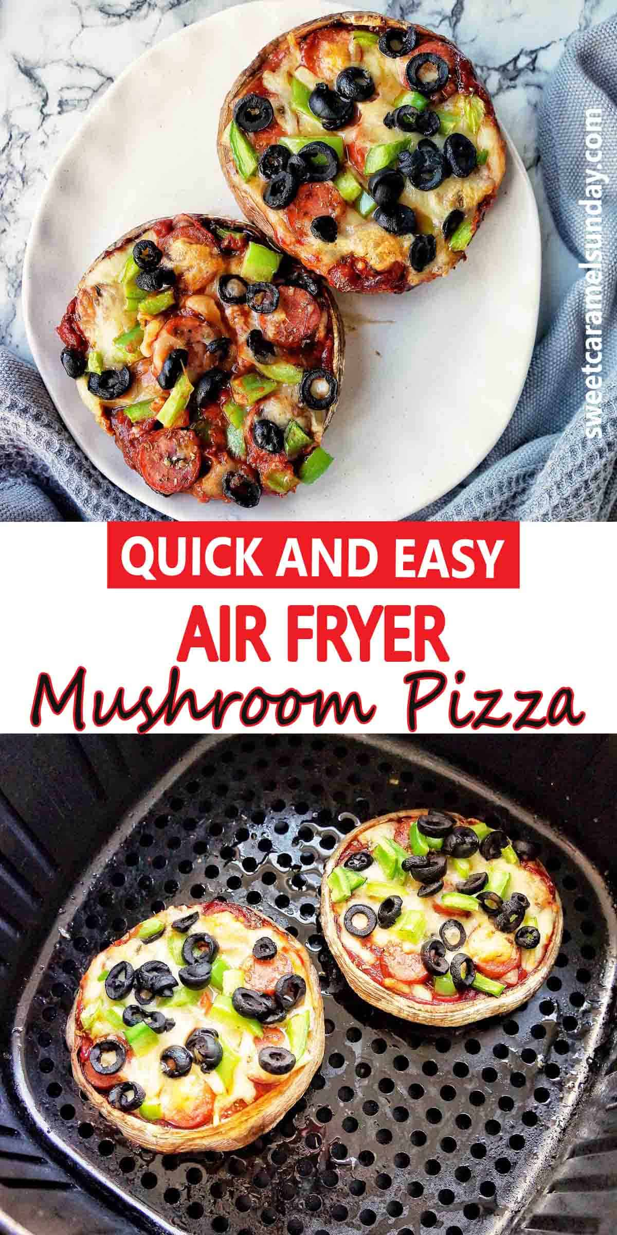 Air Fryer Mushroom Pizza with text label