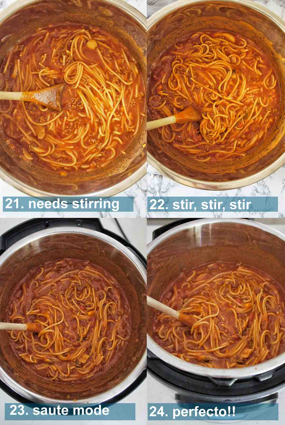 Spaghetti Bolognese process shots with text overlay