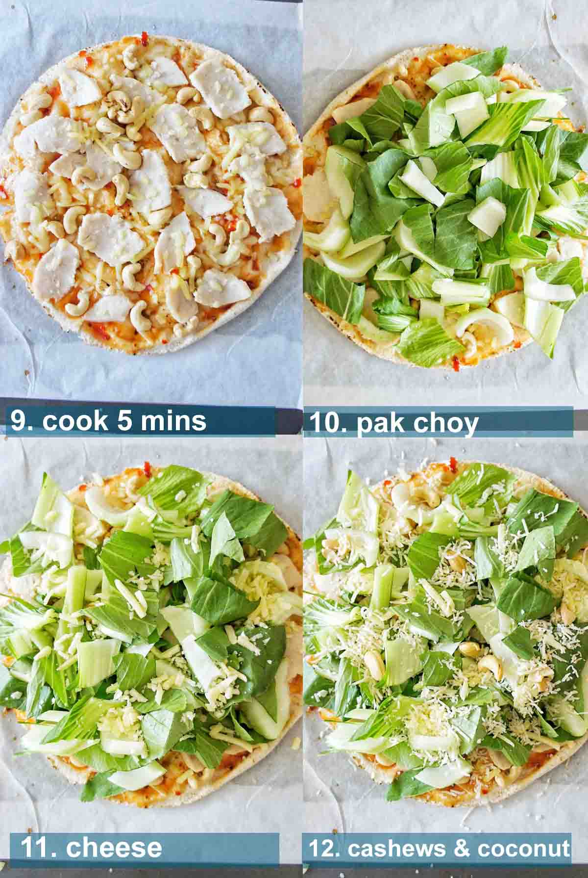 Process shots for Thai Chicken Pizza with text overlays