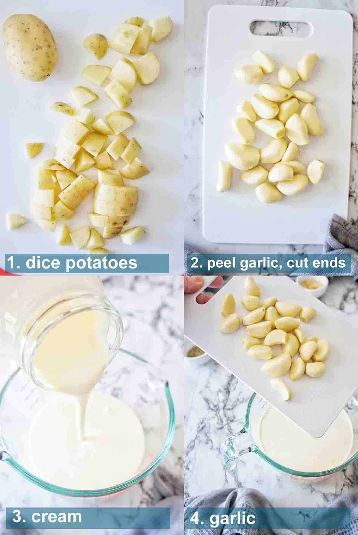 Process shots for oven roasted garlic potatoes with text overlay