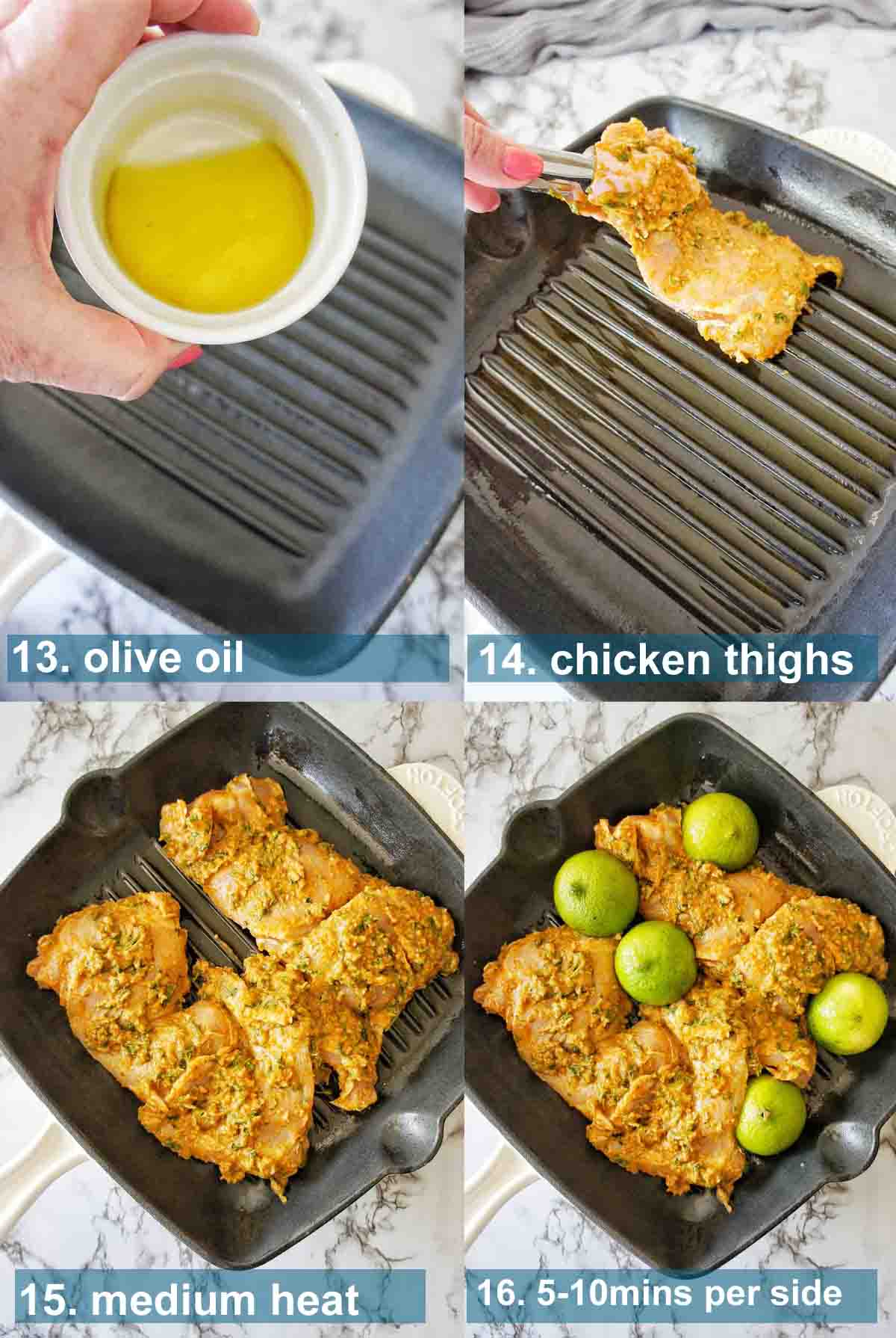 Cilantro Lime Chicken method with text overlay 13 to 16