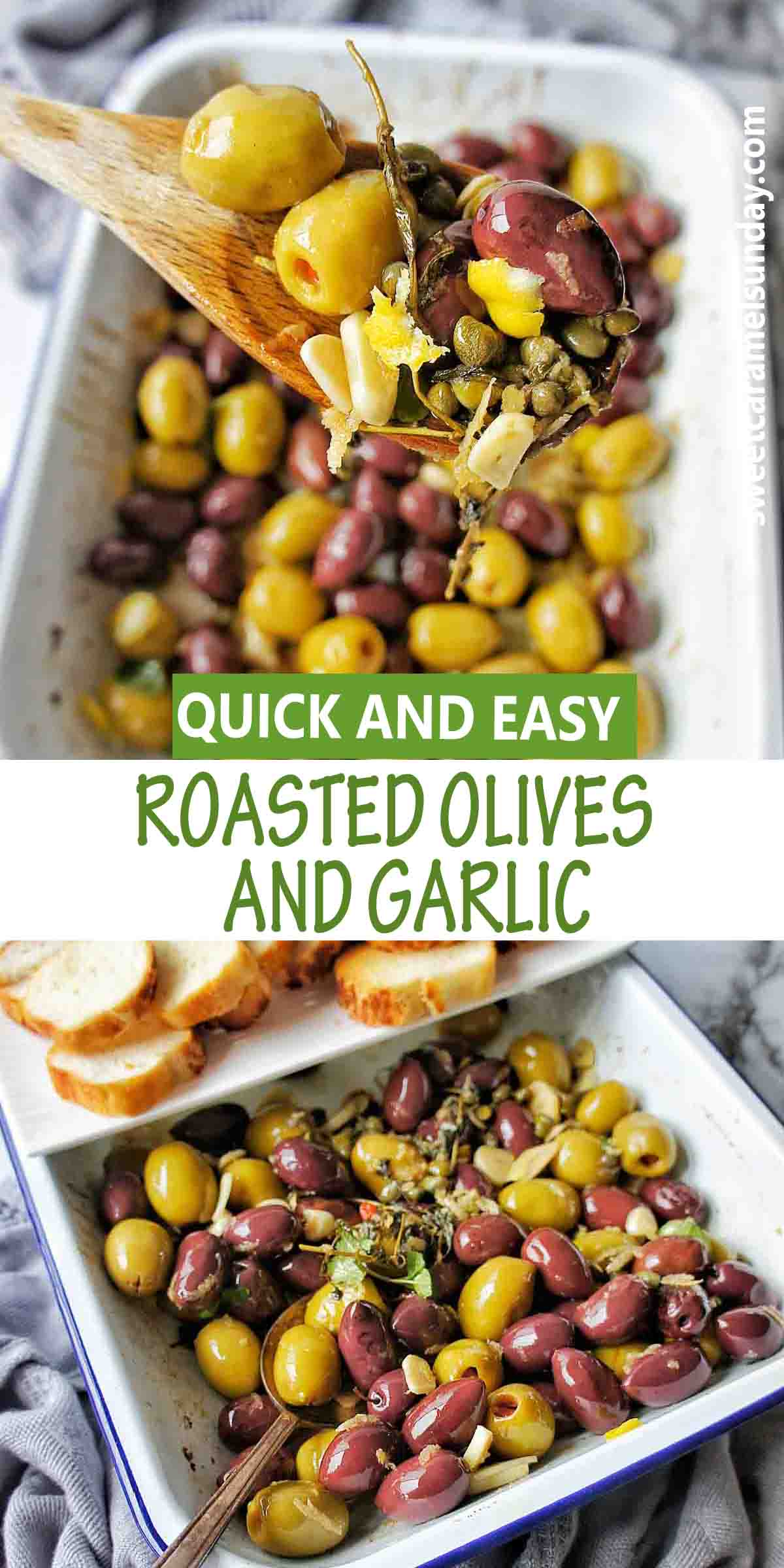 Roasted Olives with garlic and text over lay