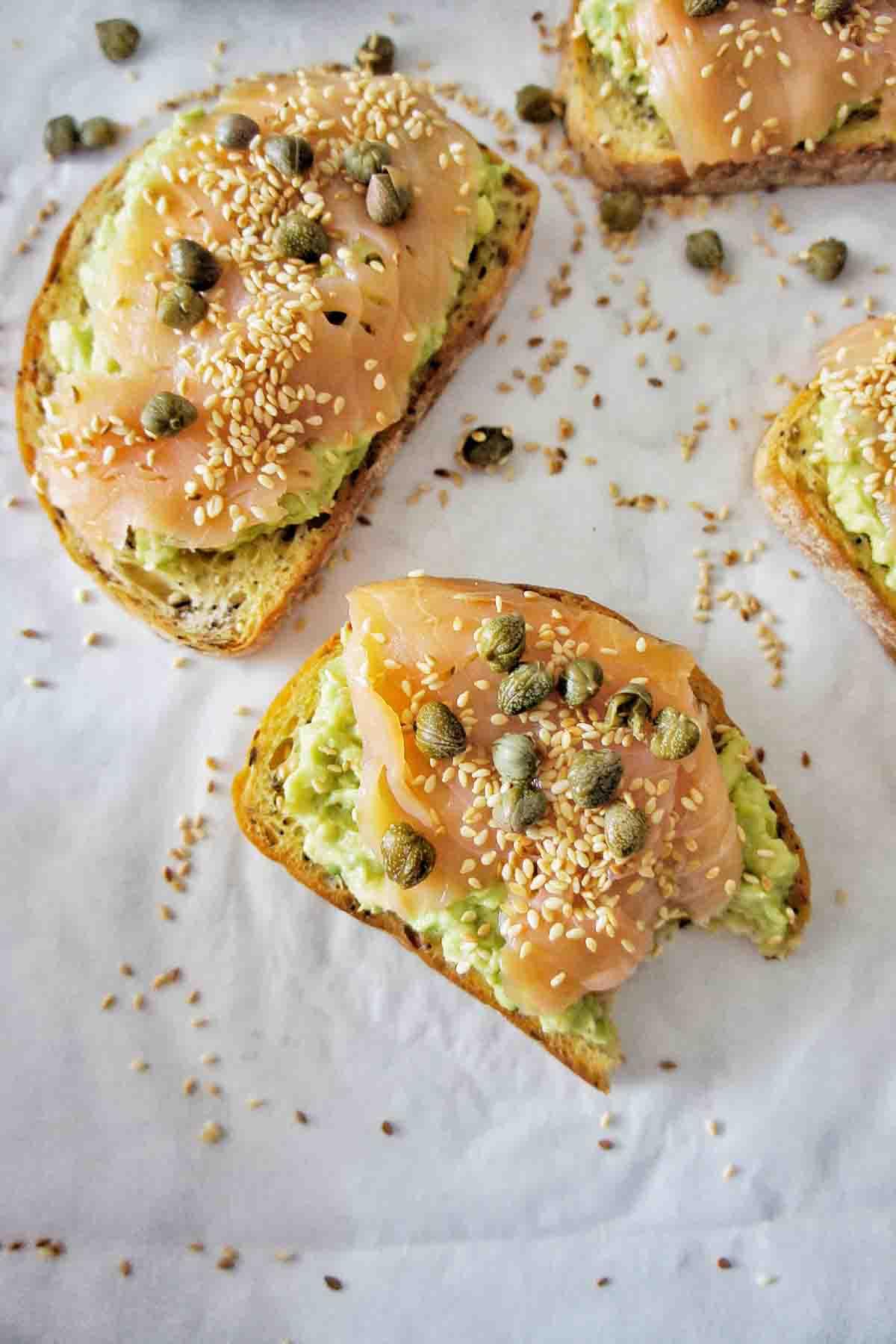 Salmon Avocado Toast on white background