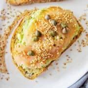 Salmon Avocado toast on a white background