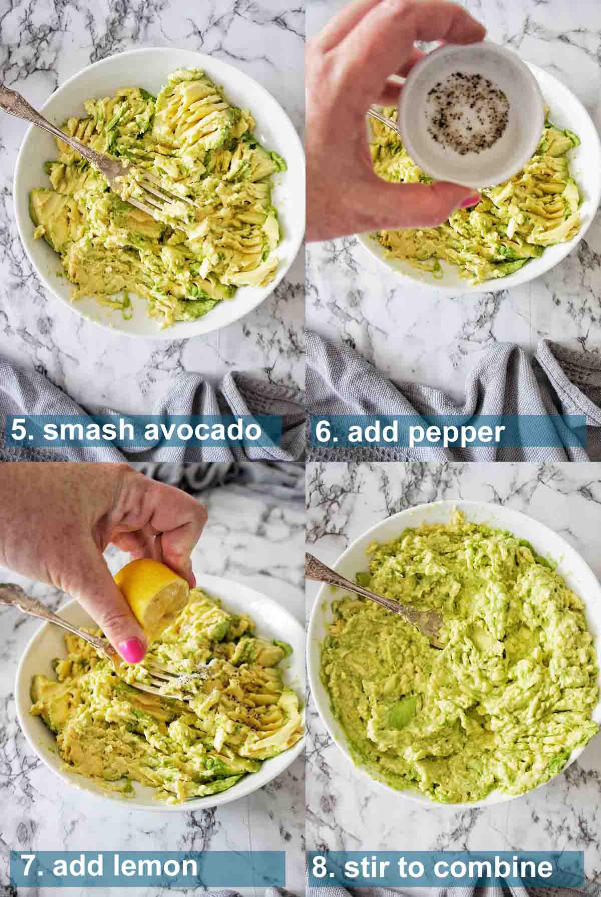 Salmon Avocado Toast Process shots 5 to 8 with text over lay