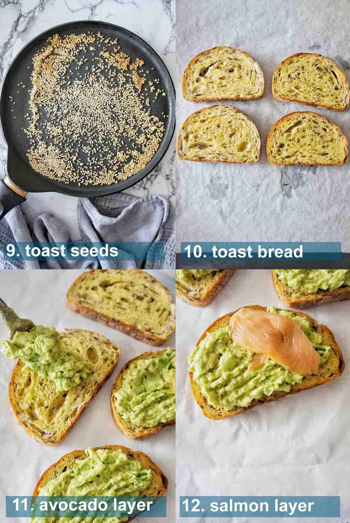 Smoked Salmon Avocado Toast process shots 9 to 12