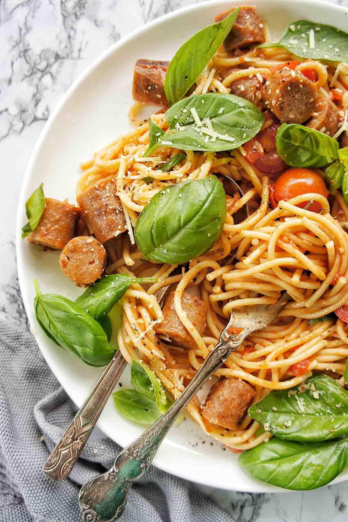 Sausage Spaghetti on a white plate