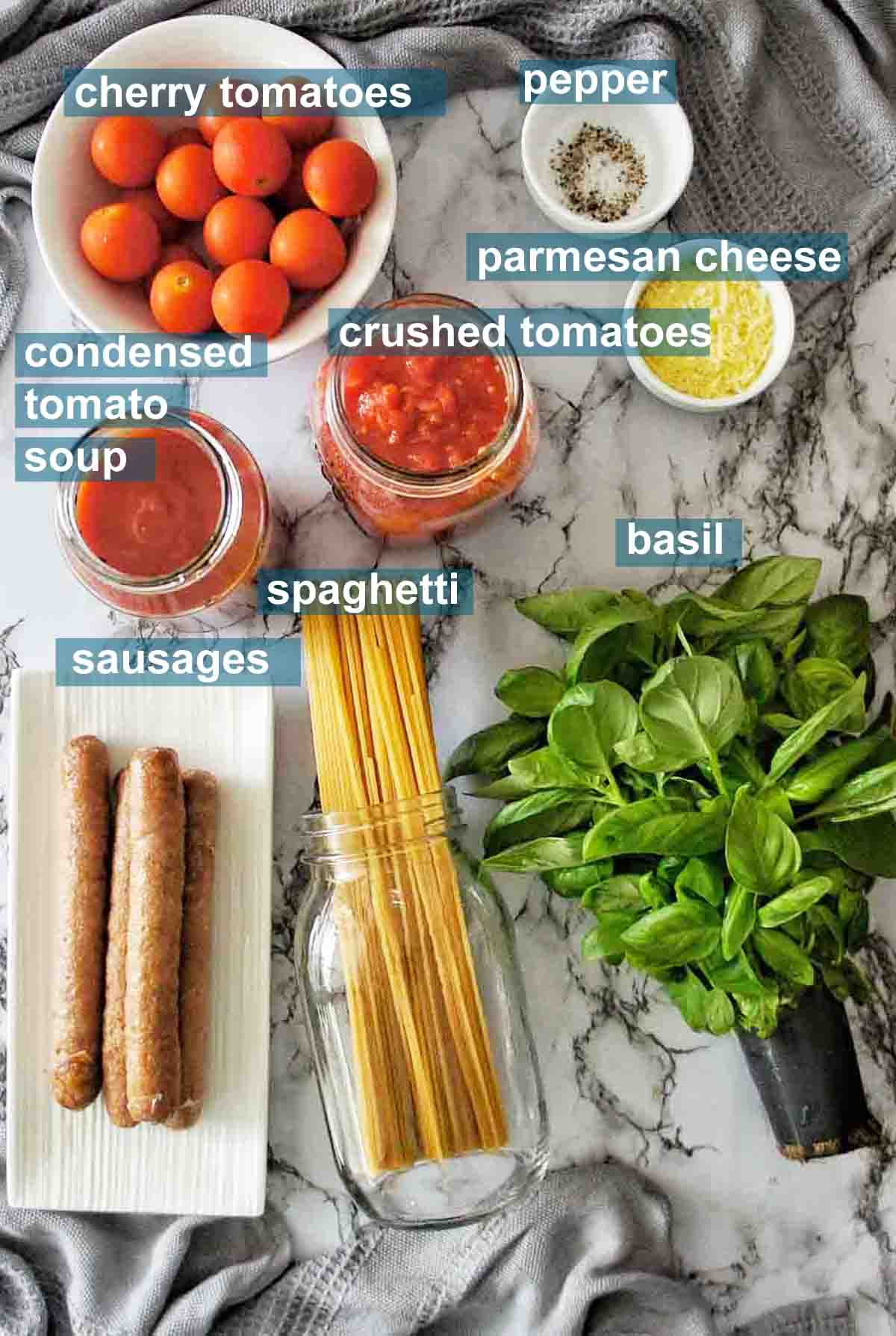 Spaghetti Sausage ingredients with text over lay