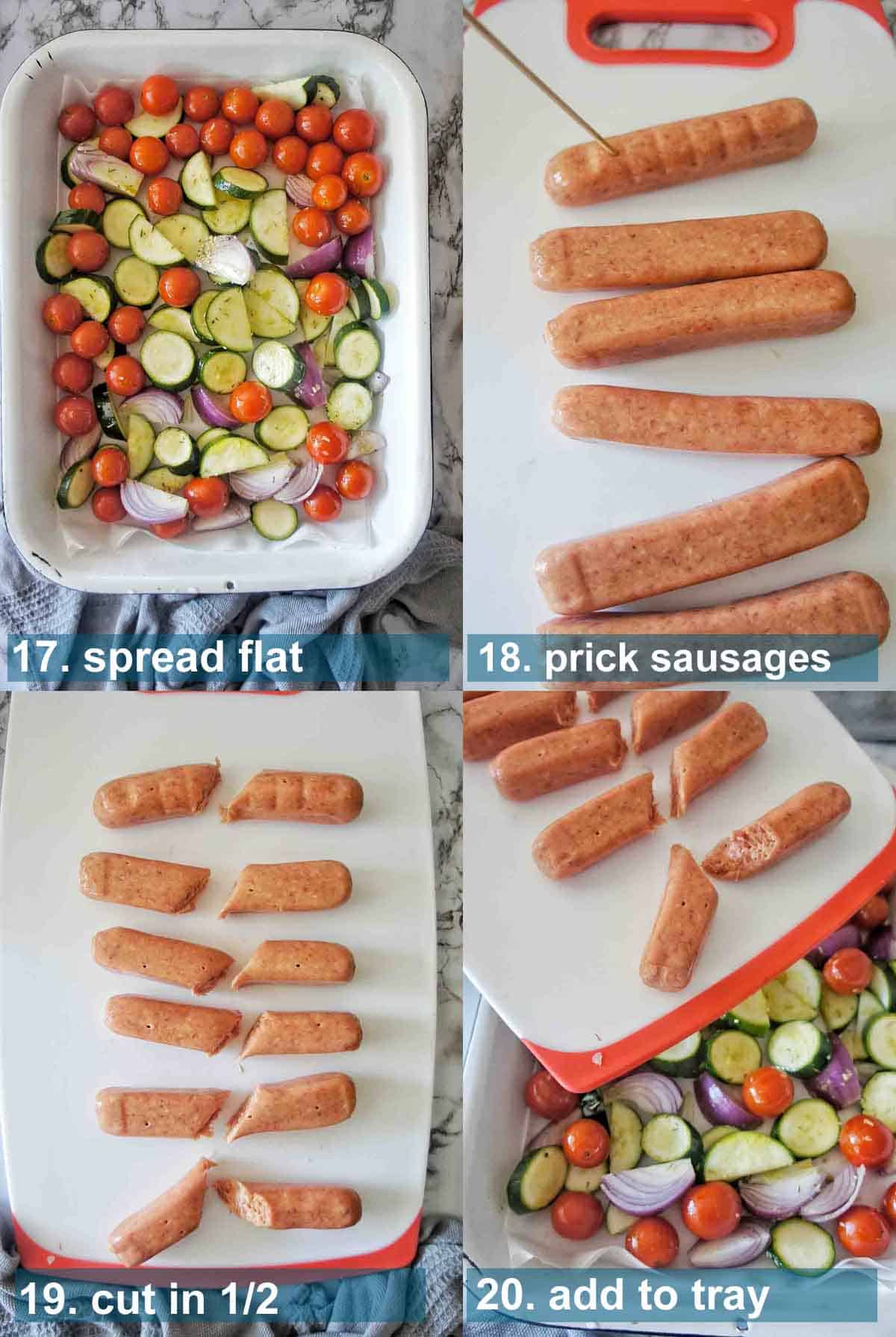 Sausage Bake method 17 to 20 with text labels