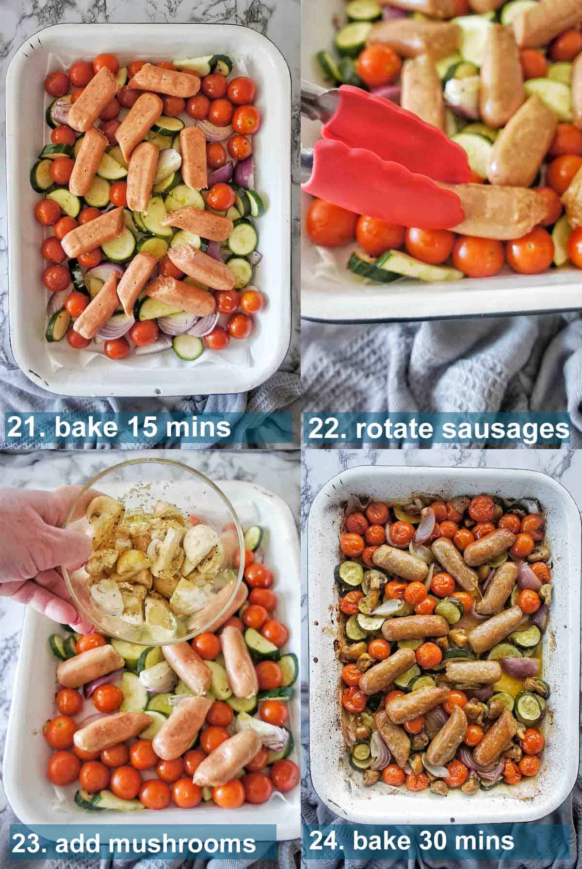 Sausage Tray Bake Method 21 to 24 with text labels