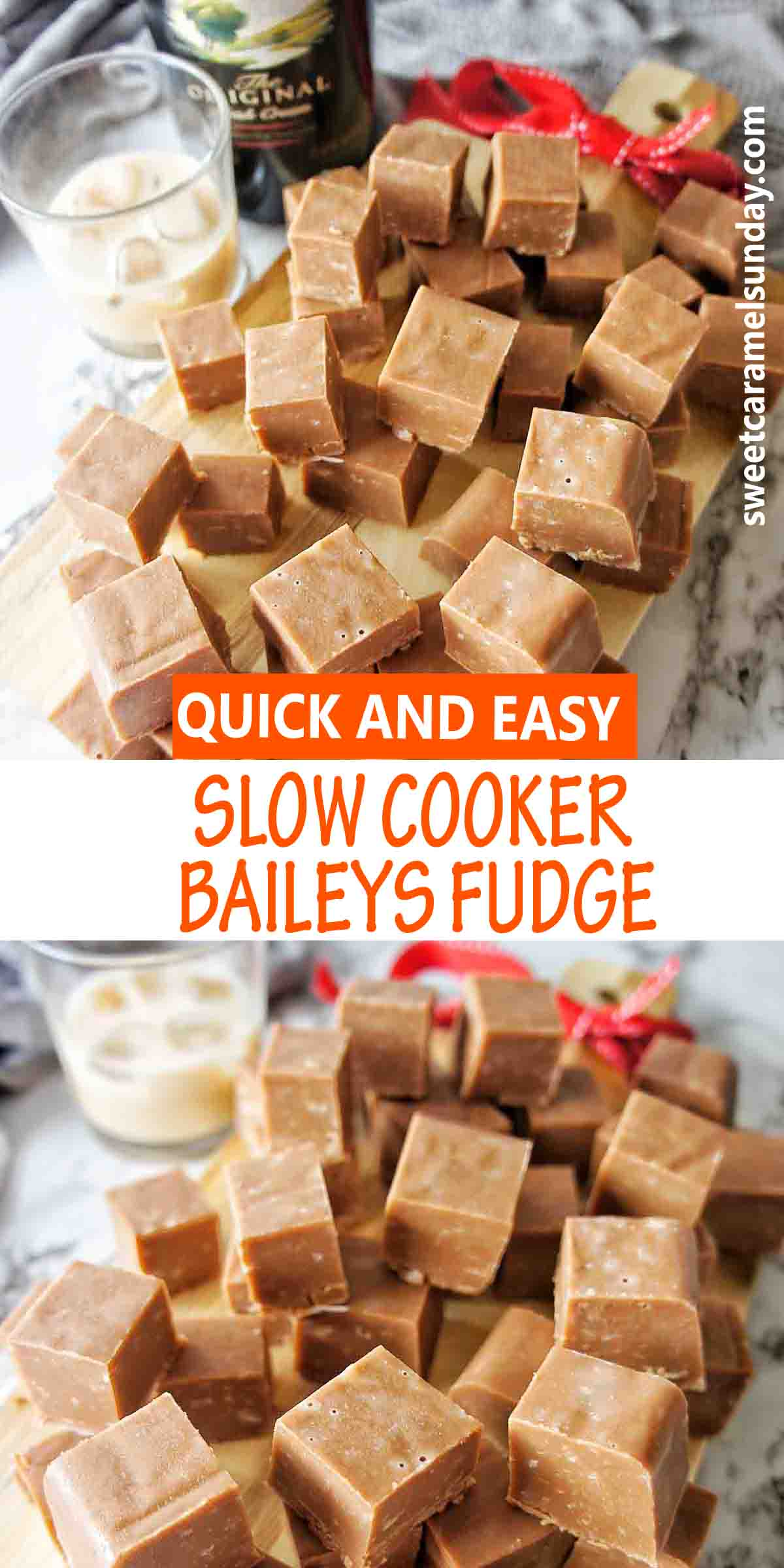 Slow Cooker Bailys Fudge with text over lay
