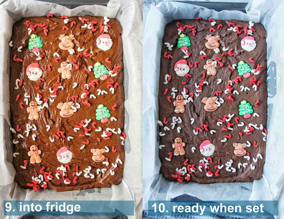 Slow Cooker Christmas Fudge method 9 to 10 with text labels