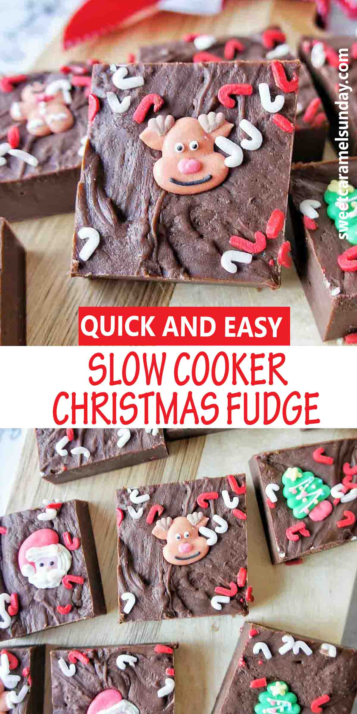 Slow Cooker Christmas Fudge with text label