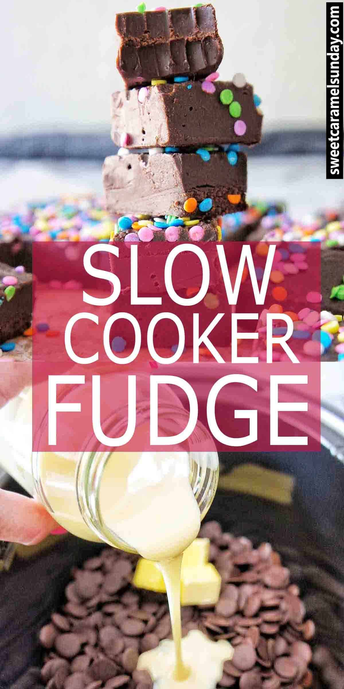 Slow Cooker Fudge with text overlay