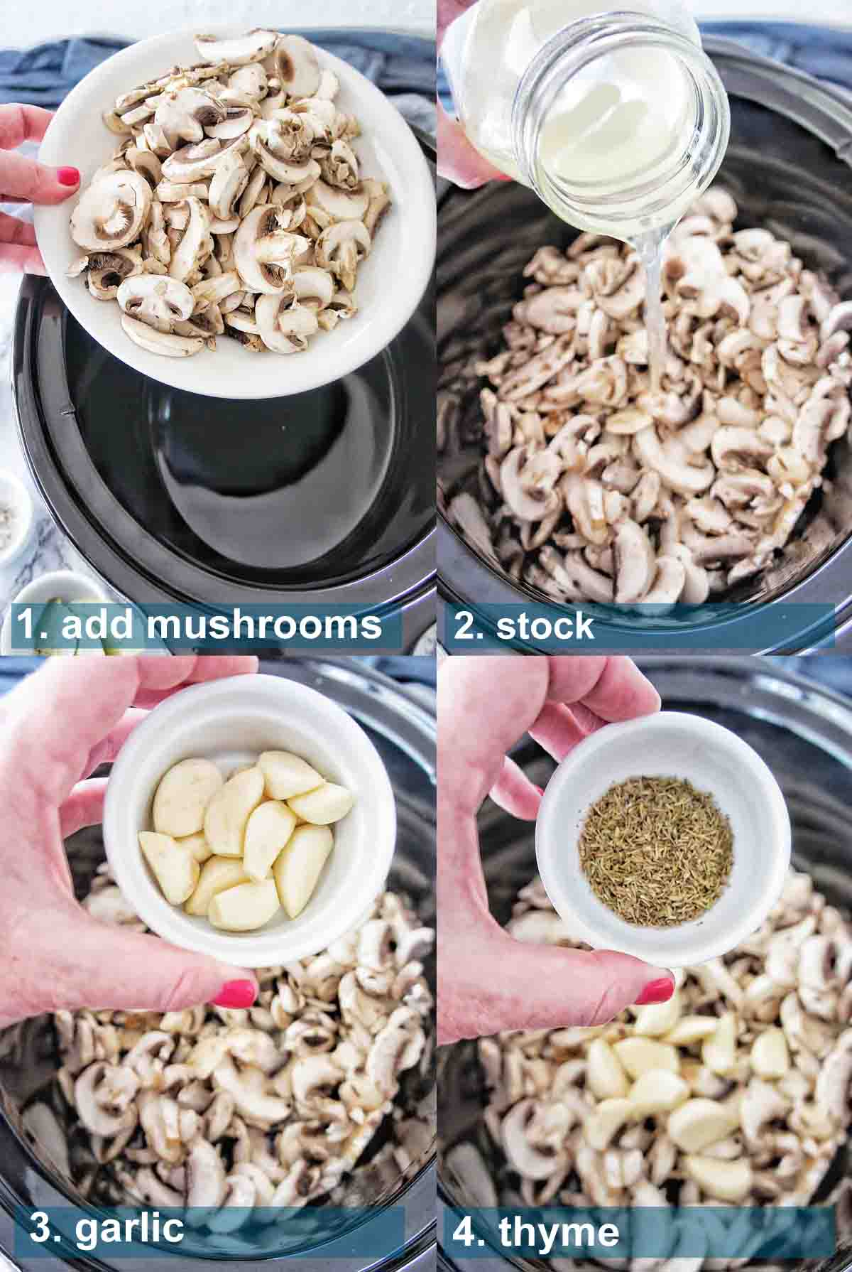 Slow Cooker Mushroom Soup method 1 to 4 with text over lay