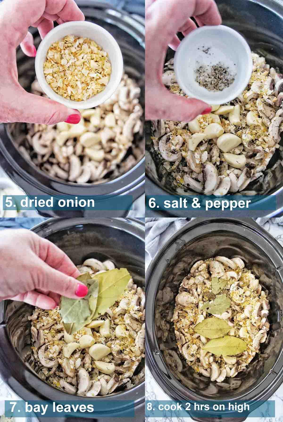 Slow Cooker Mushroom soup method 5 to 8