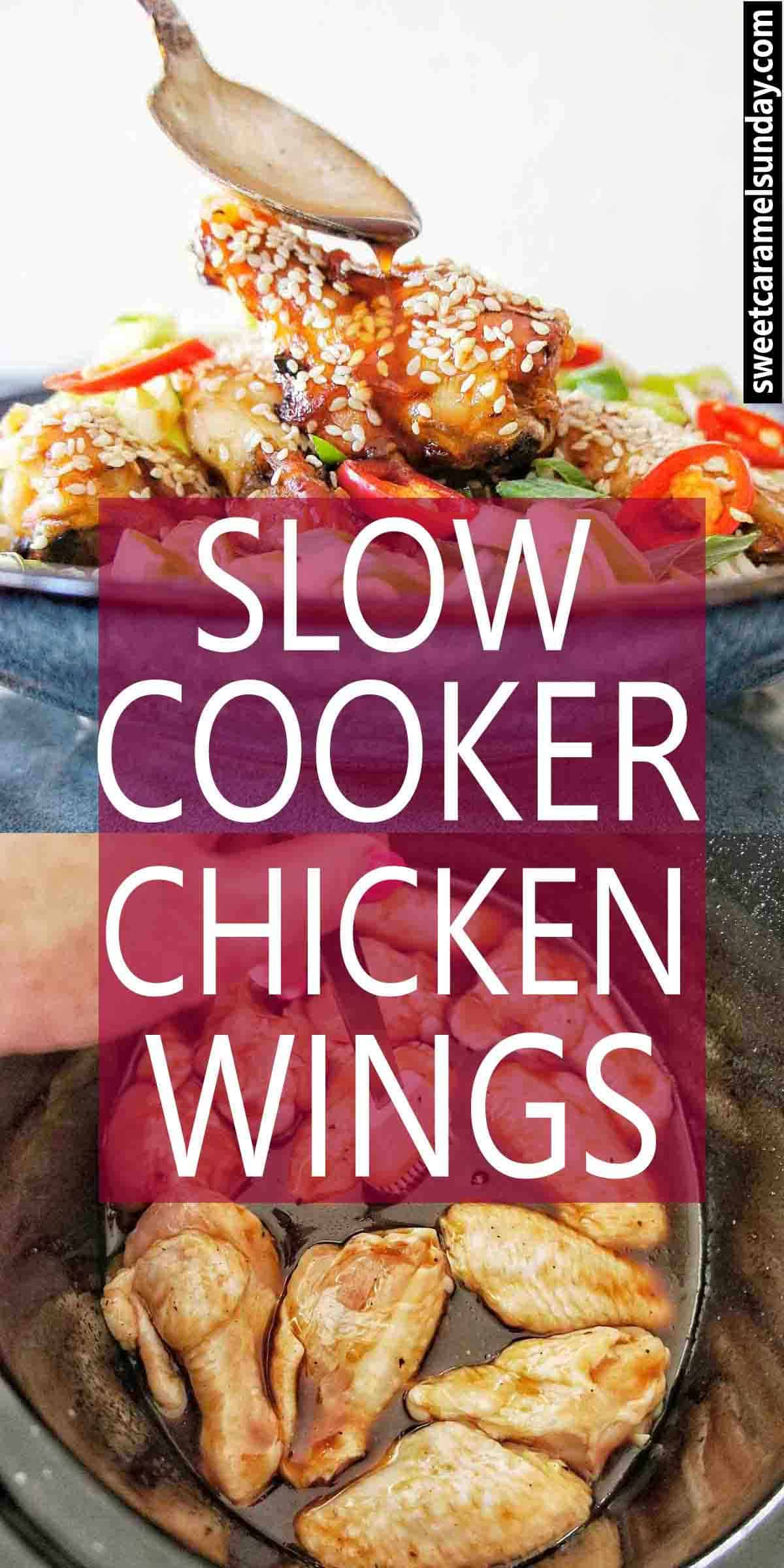 Slow Cooker Sticky Chicken Wings with text overlay