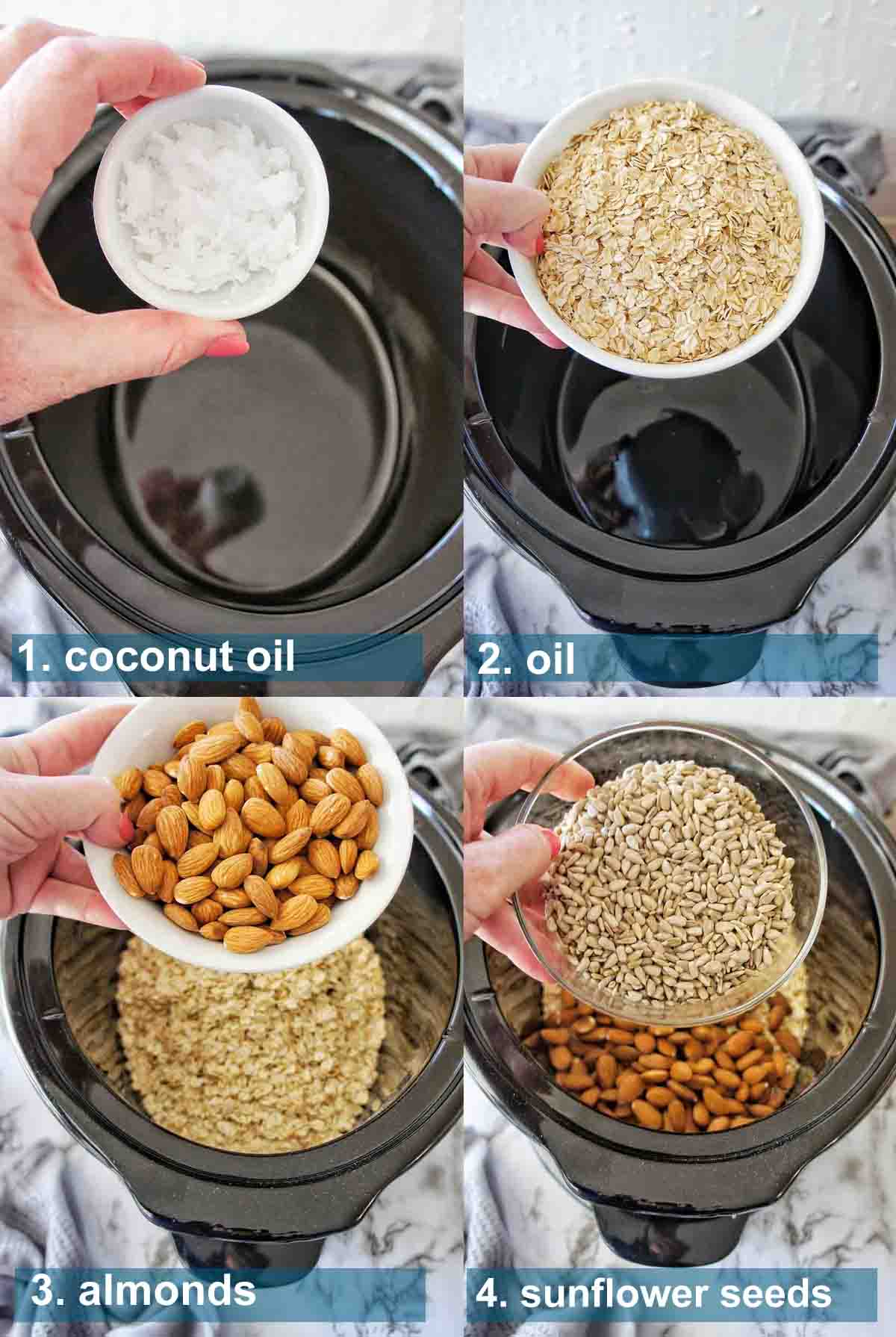 Slow Cooker Granola method 1 to 4