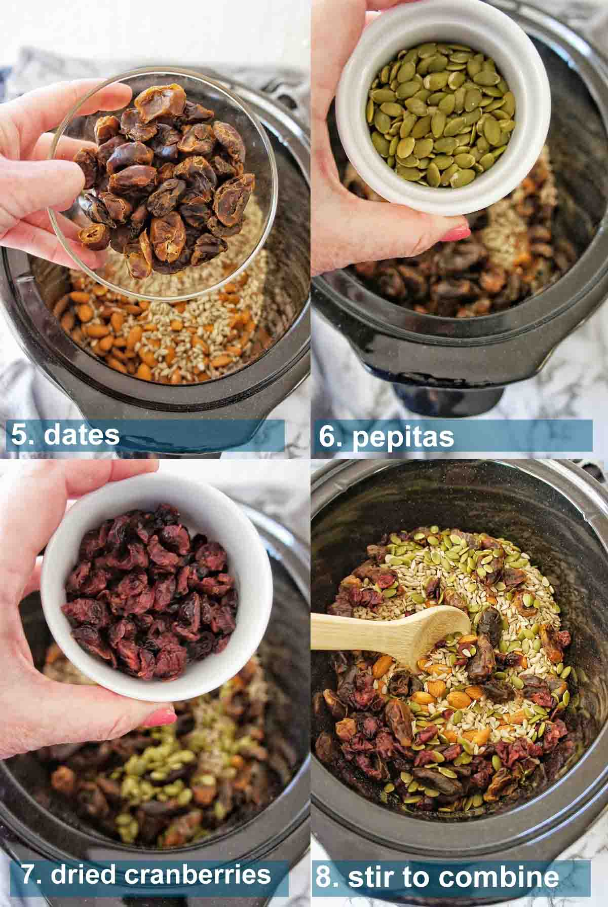 Slow Cooker Granola method 5 to 8 with text over lay