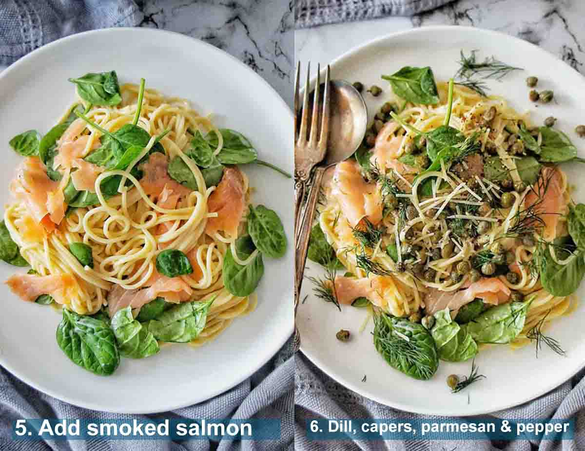 Smoked Salmon Spaghetti method 5 to 6 with text over lay