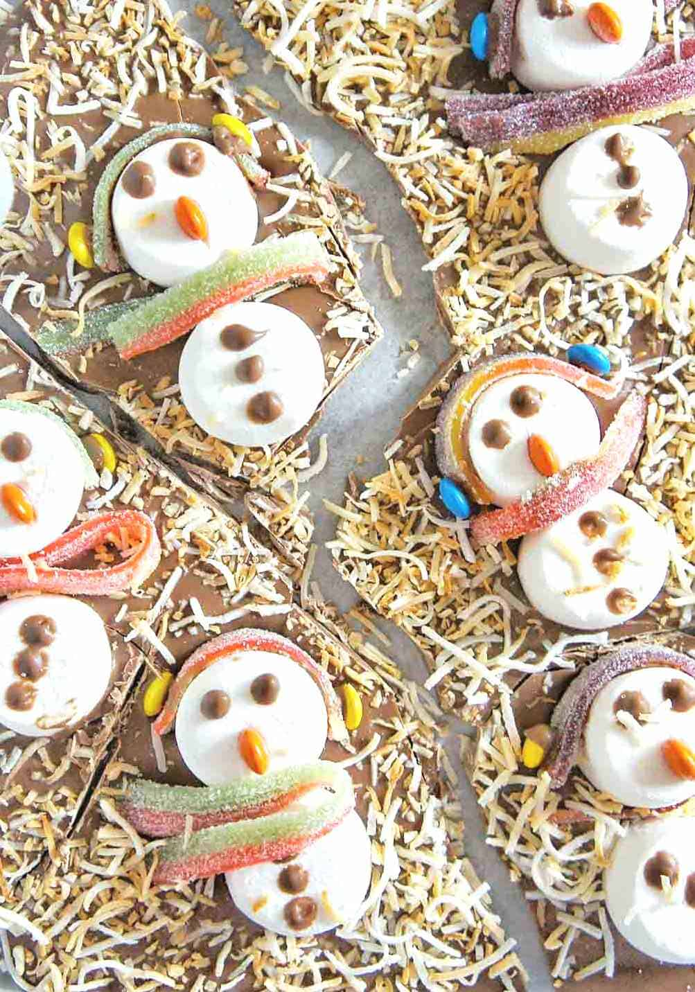 Snowman Chocolate Bark with candy scarf and headbands