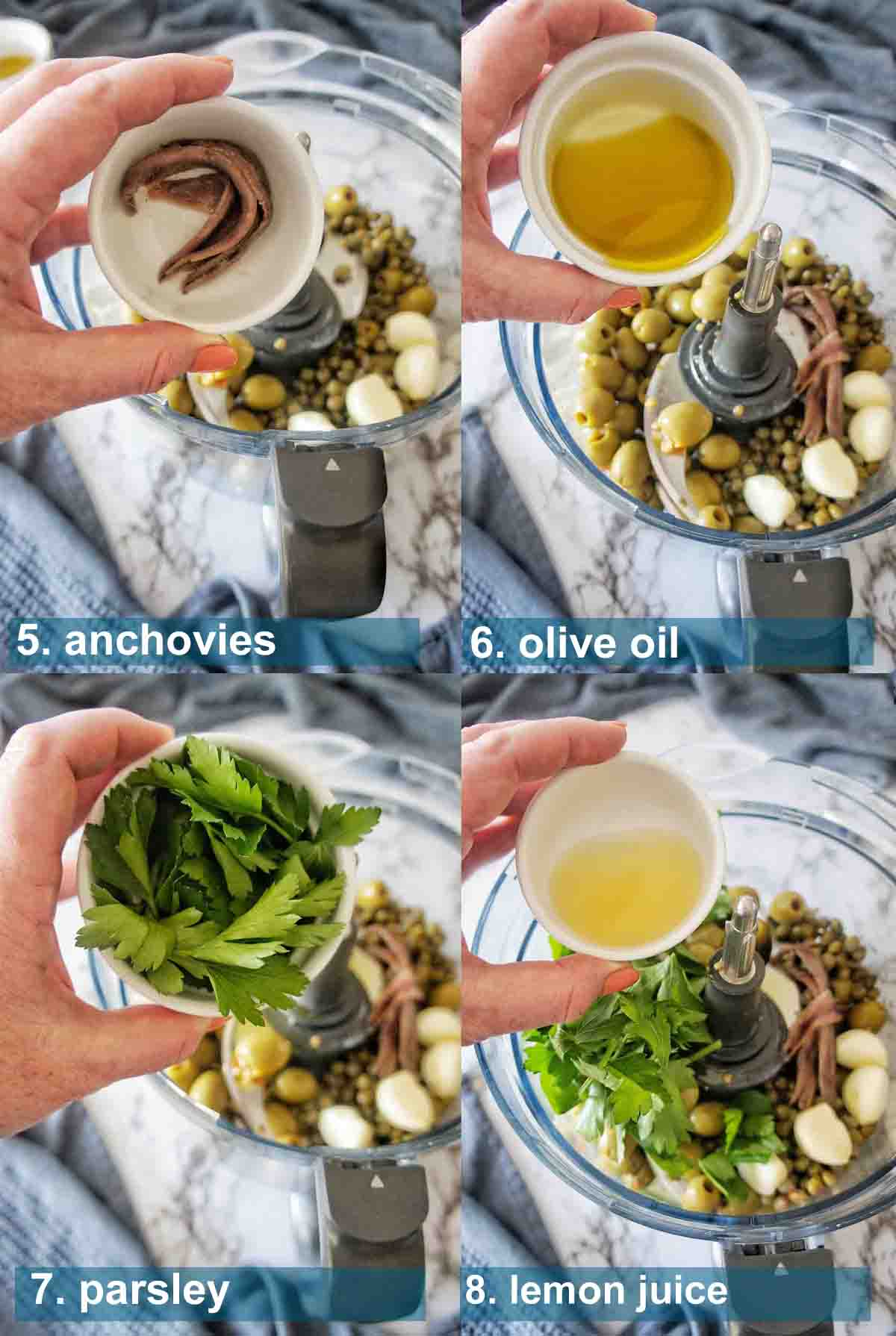 Spicy Olive Tapenade Method 5 to 8 with text over lay