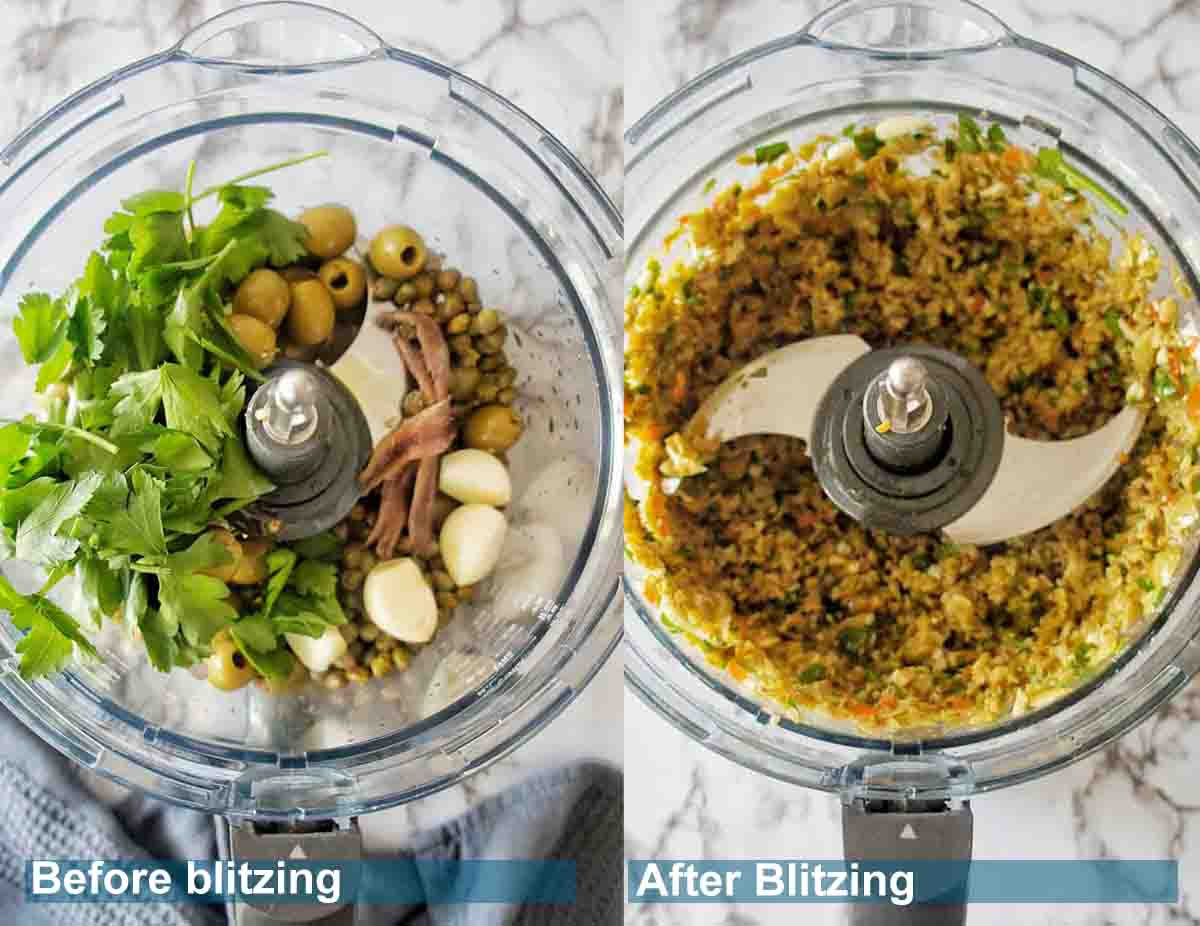 Tapenade ingredients in the food processor before and after with text over lay