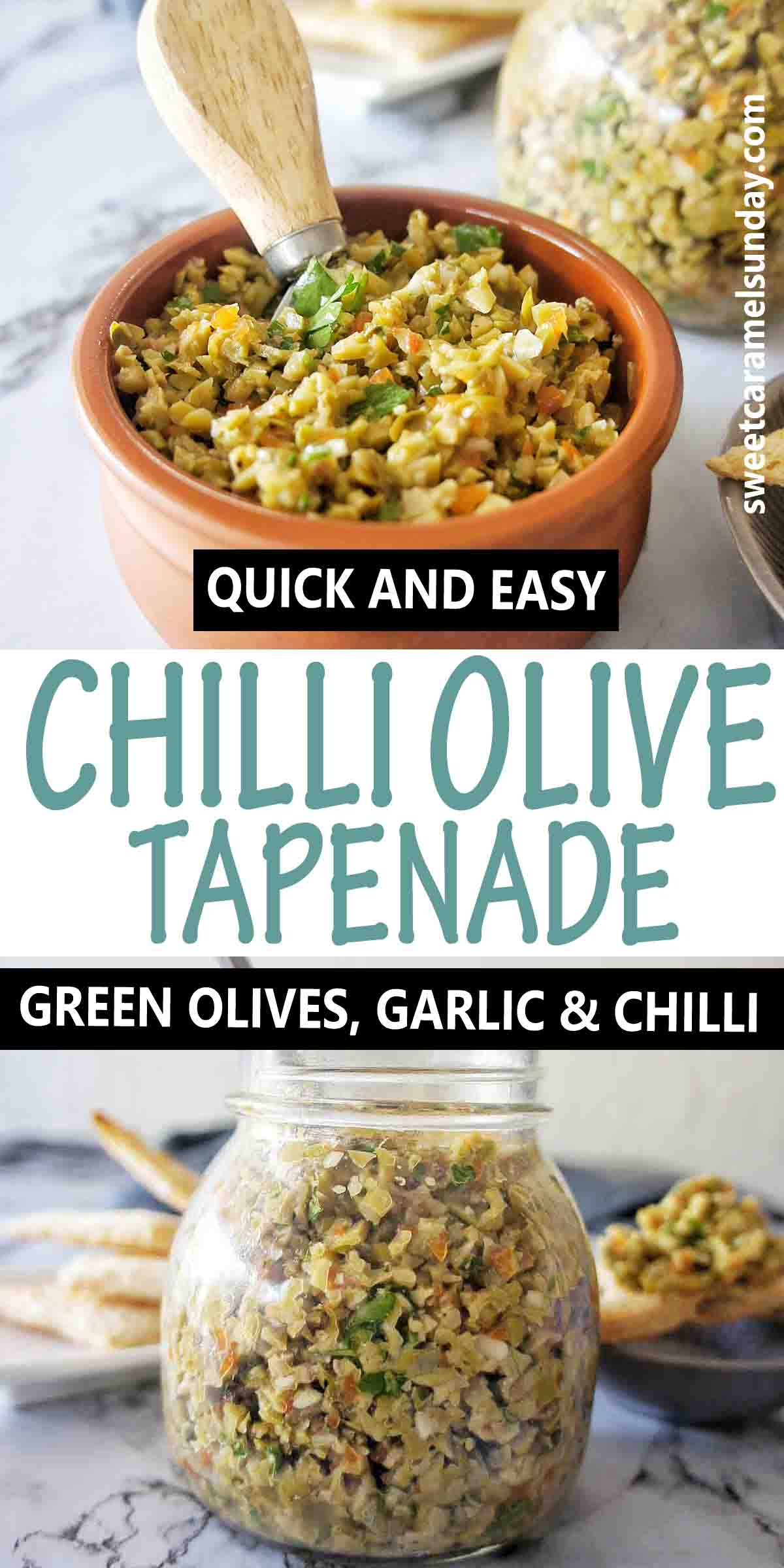 Spicy Olive Tapenade with text over lay