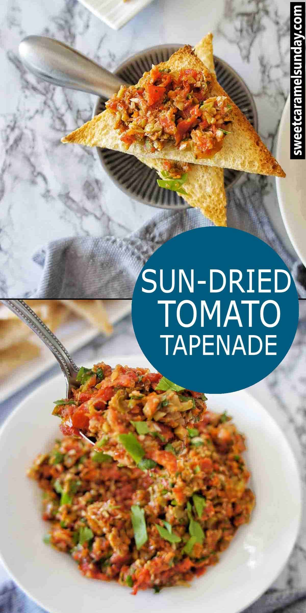 Sun-Dried Tomato Tapenade with text overlay