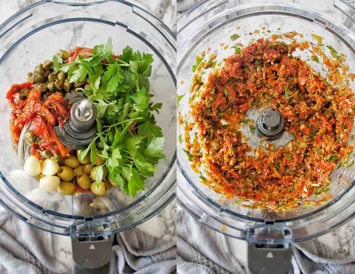 Homemade tapenade in a food processor before and after pulsing