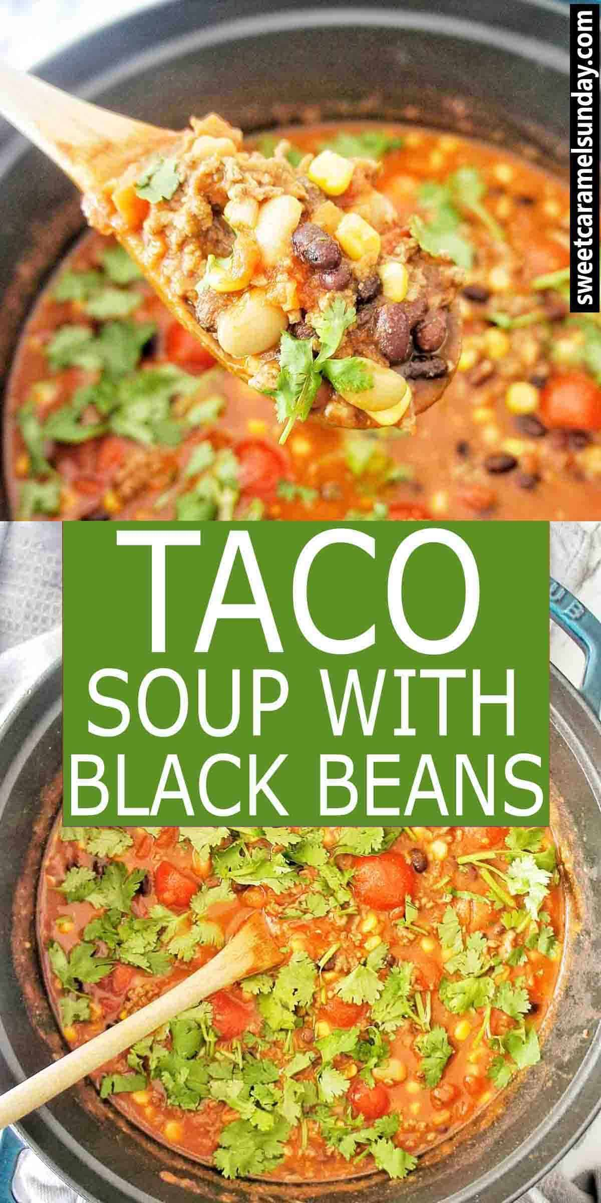 Taco Soup with text overlay