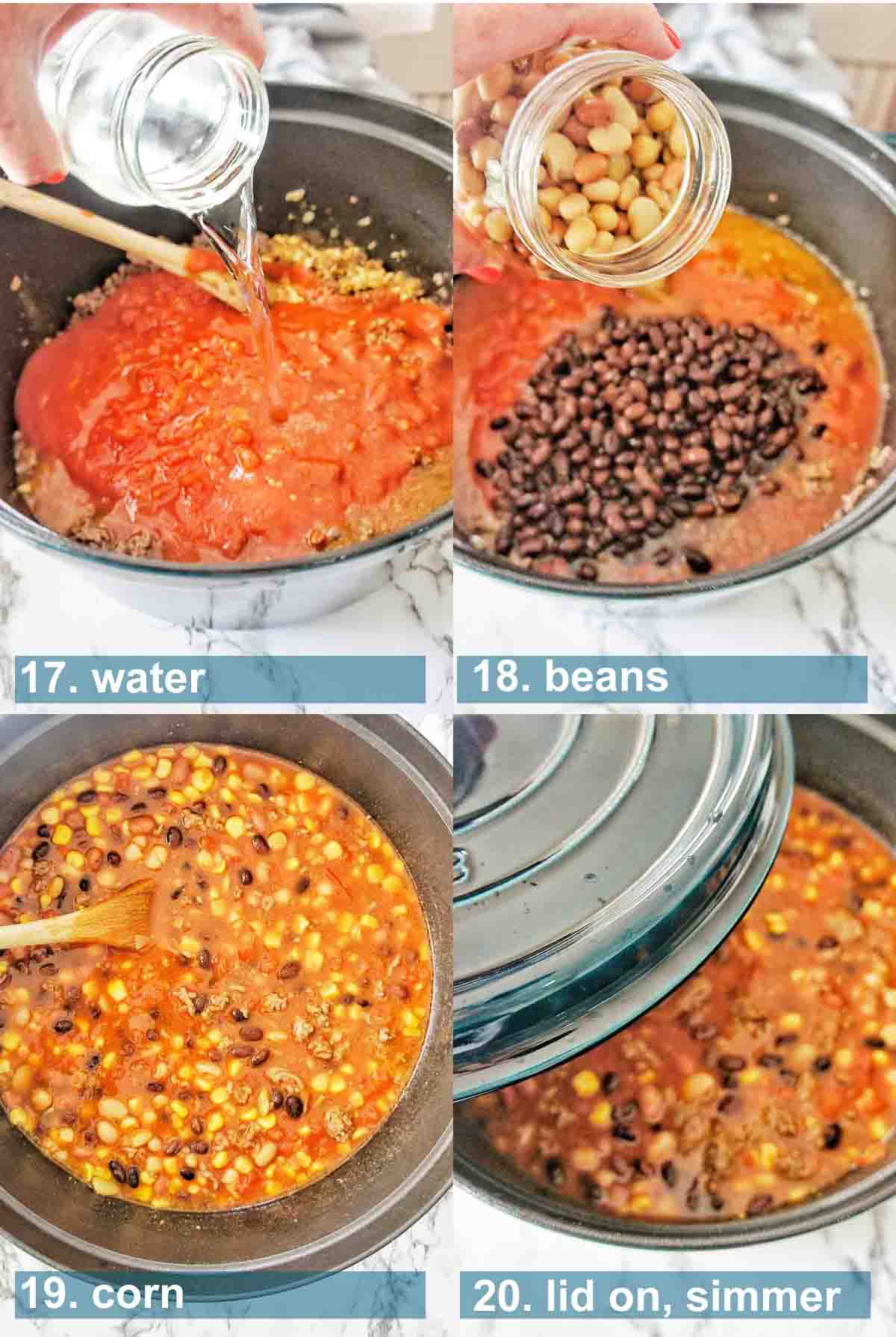 Instructions for making taco soup with text overlay