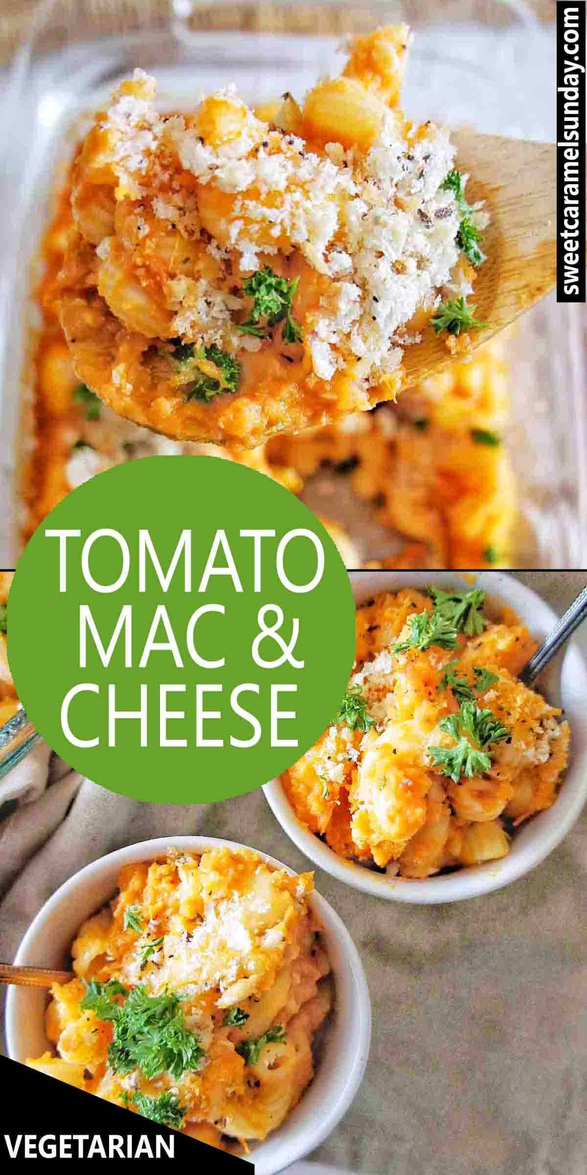 Tomato Mac and Cheese with text overlay